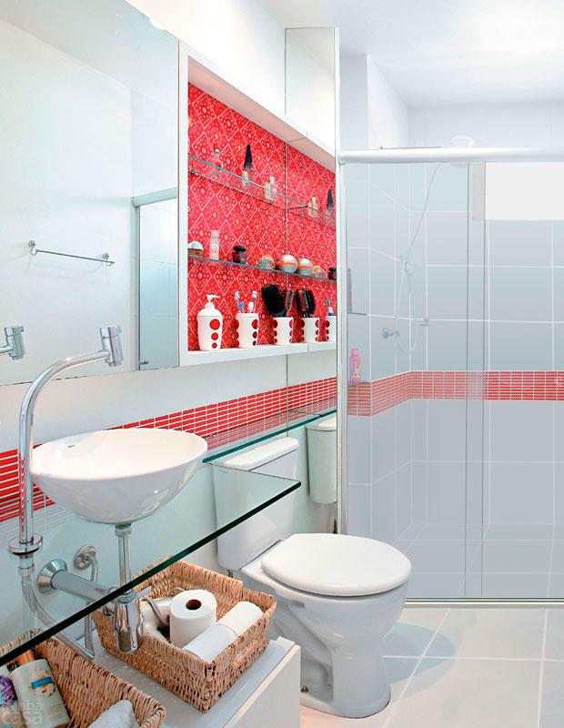 14 Modelos para Decorar banheiros pequenos e simples -> Bancada De Banheiro Com Pastilha De Vidro