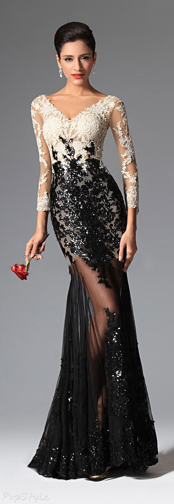vestidos-de-renda-longo-preto-com-nude