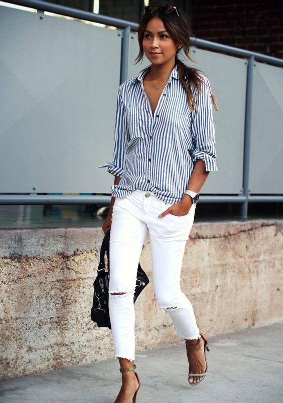 Blusa social feminina com calça branca
