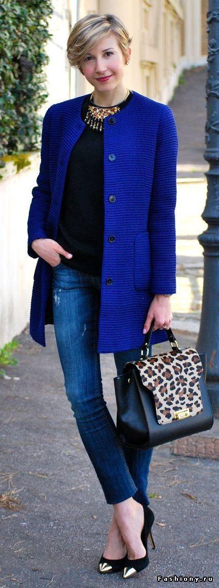 modelos Casacos femininos azul