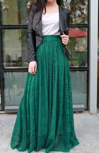saias longas femininas verdes moda 2018