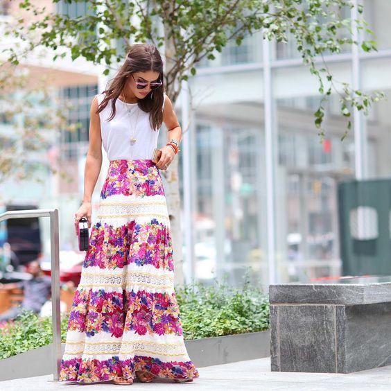 saias longas femininas estampadas 2019