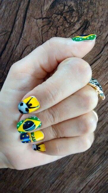 Unhas decoradas copa do mundo brasil