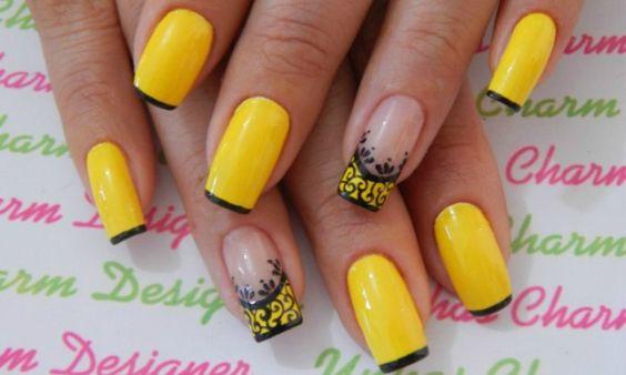 fotos de unhas decoradas amarela