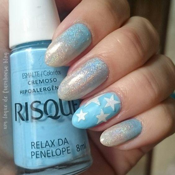 unhas decoradas com estrelas