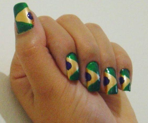 como fazer Unhas decoradas bandeira do brasil