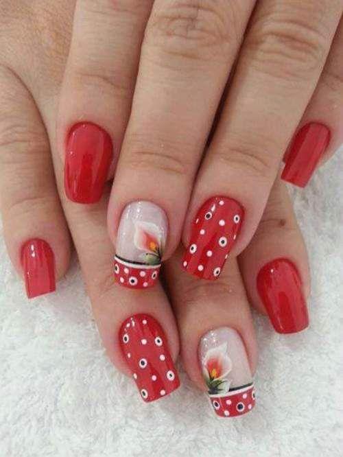 unhas decoradas na cor vermelha