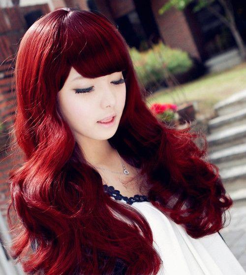 cabelos vermelhos com franjas