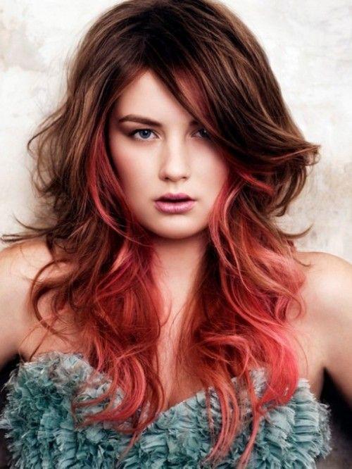 cabelos vermelhos com mechas