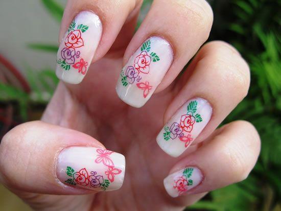 Unha decorada com Flor básica