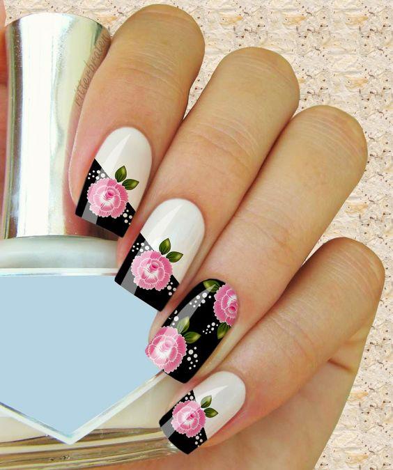unhas com flores perfeitas