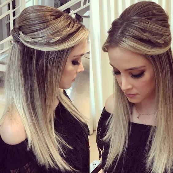 Penteado festa cabelo longo 2018